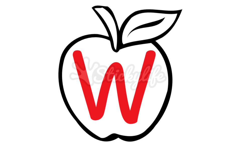 Apple monogram clipart picture freeuse library Red Apple Monogram - Custom Decal Shapes and Sizes picture freeuse library