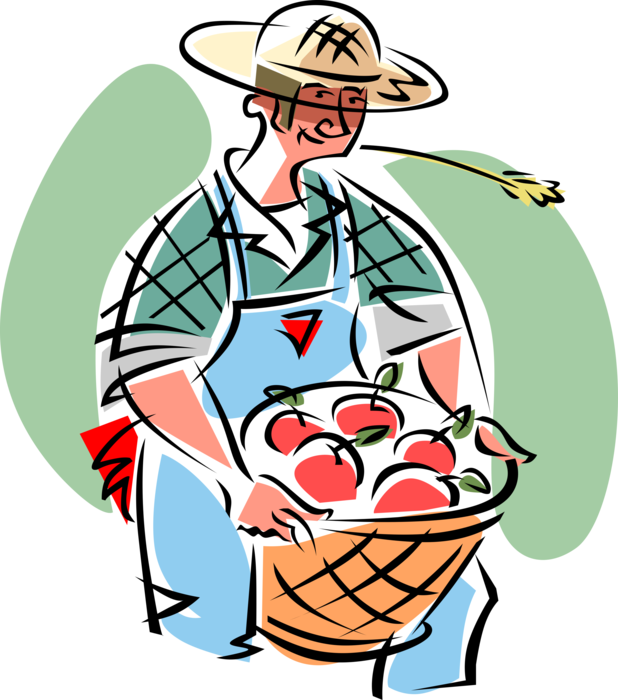 Apple orchard clipart free download Farmer with Apple Orchard Harvest - Vector Image free download