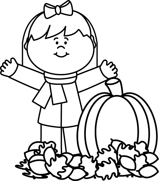 Autumn girl preschool pinterest. Fall pumpkin black and white clipart