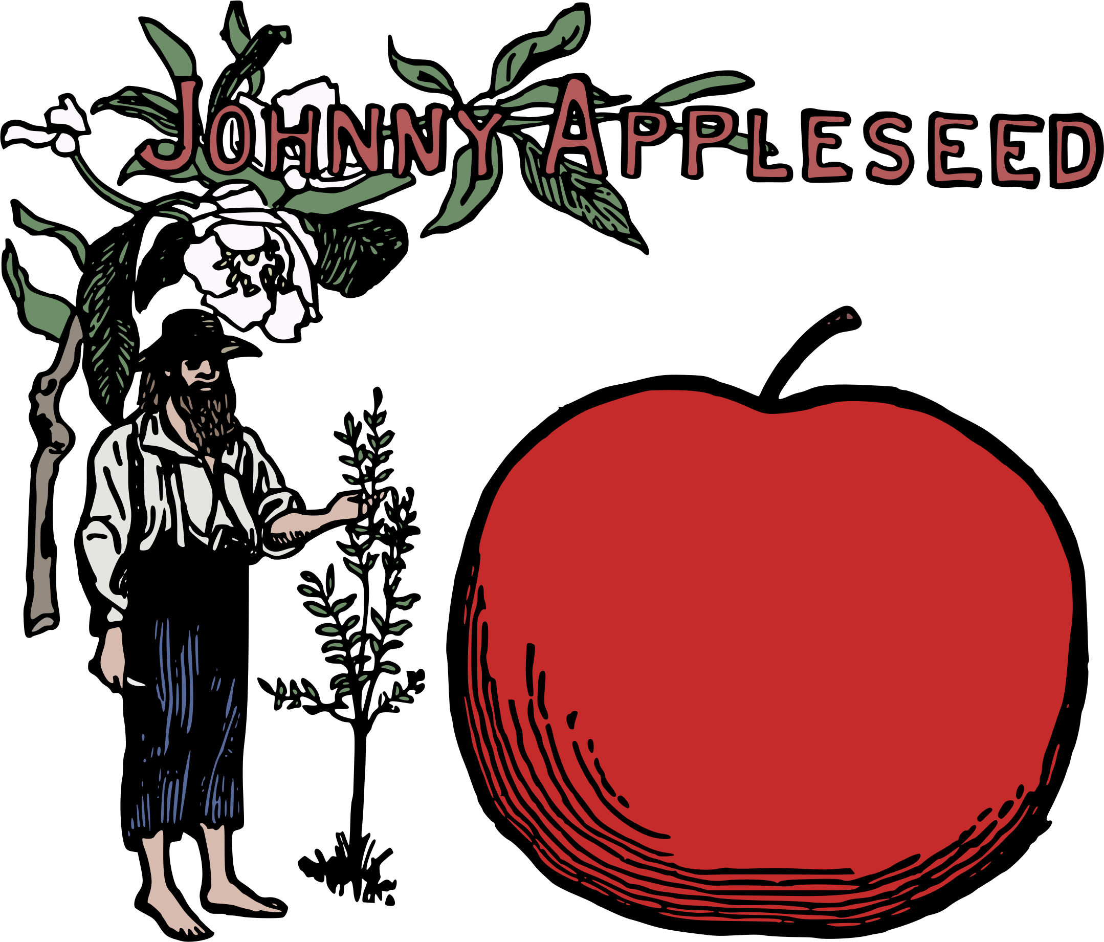 Johnny apple seed clipart banner transparent stock Clipart - Johnny Appleseed Colour banner transparent stock