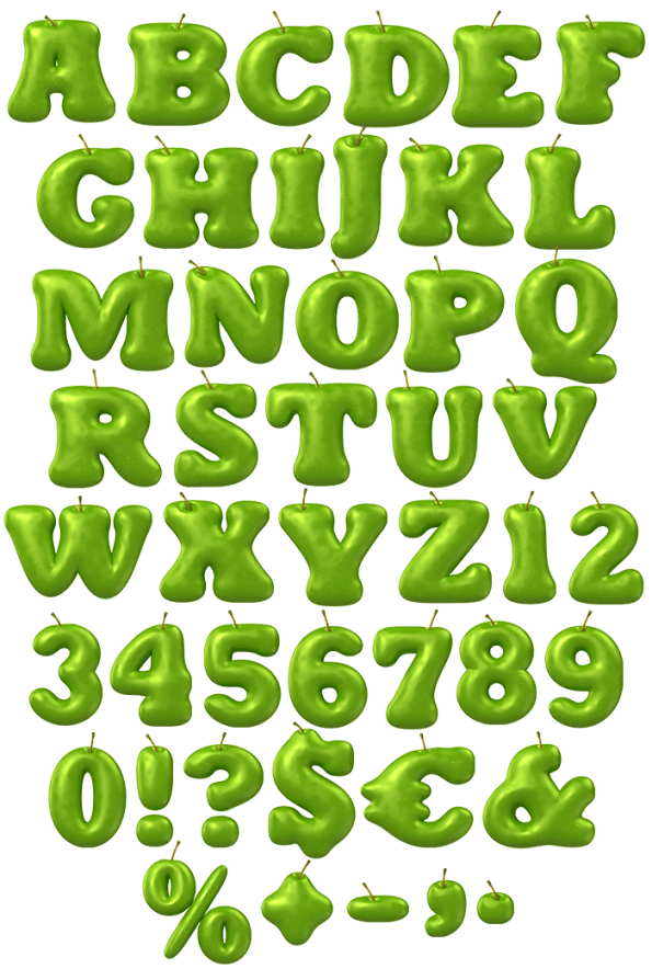 Apple shape of letter a clipart image free download Buy Apple Green Font And Enjoy Delicious Juicy Fruit Typeface For ... image free download