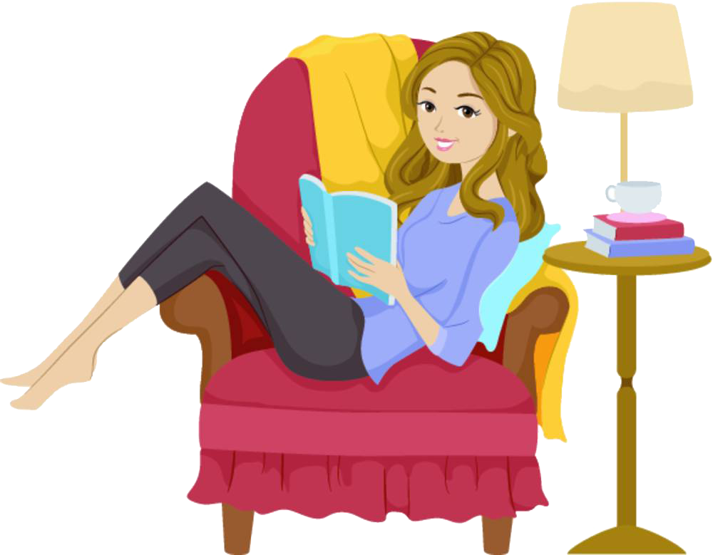 Apple sitting on books clipart freeuse stock Reading Girl Book Clip art - A woman reading on a sofa 1000*779 ... freeuse stock
