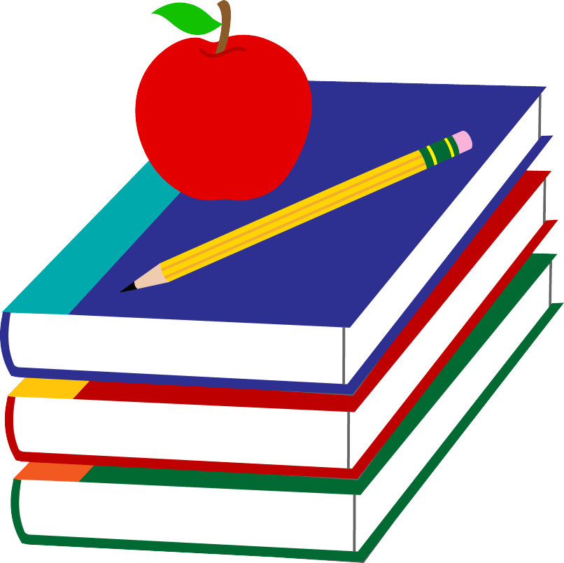 Apple sitting on books clipart png transparent library cartoon books | Reviewwalls.co png transparent library