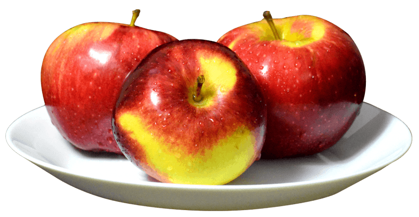 Apple slices on a plate clipart jpg free library Apples on the White Plate png - Free PNG Images | TOPpng jpg free library