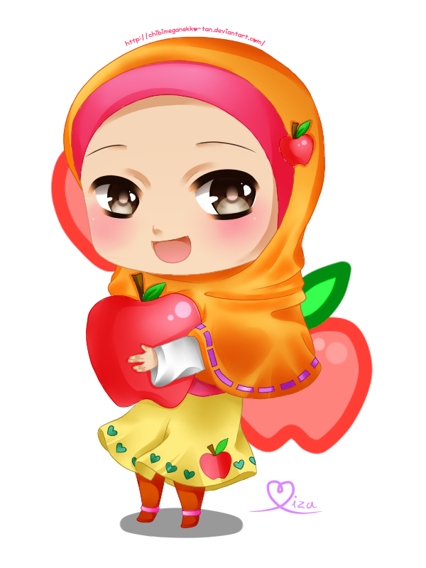 Apple split clipart svg royalty free Chibi Hijabi With Apple | ༺ Muslimah Anime, Manga Drawing ... svg royalty free