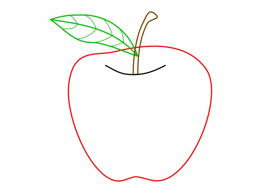 Apple clipart outline while jpg black and white stock Apple Stem And Leaf Png - Guava Clipart Black And White Free PNG ... jpg black and white stock