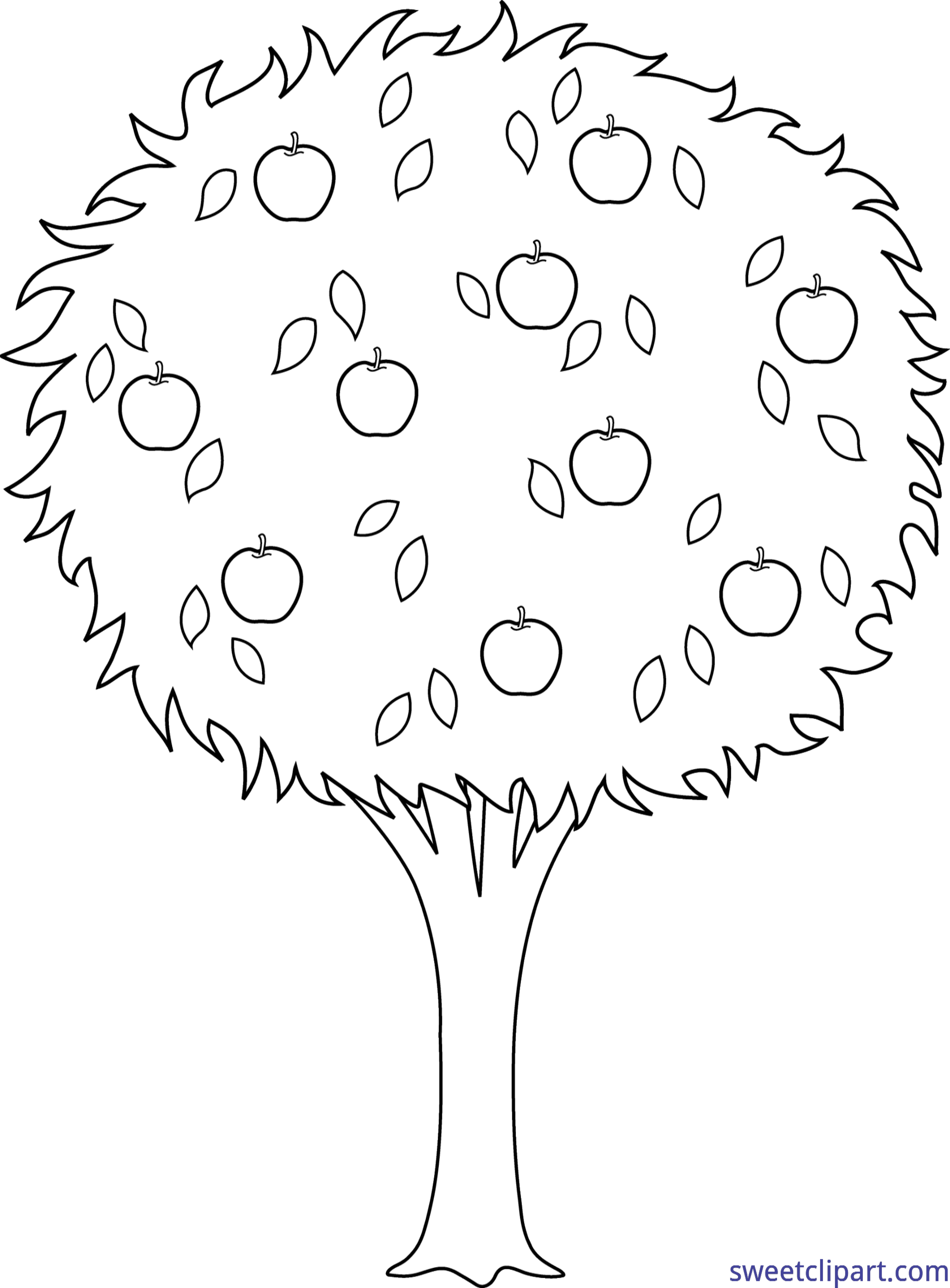 Apple tree black and white clipart vector stock Apple Tree Lineart Clip Art - Sweet Clip Art vector stock