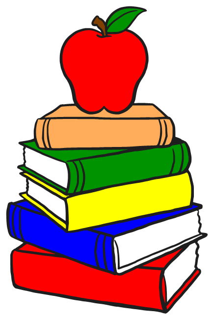 Apple with books clipart. Stack of clipartfest cartoon