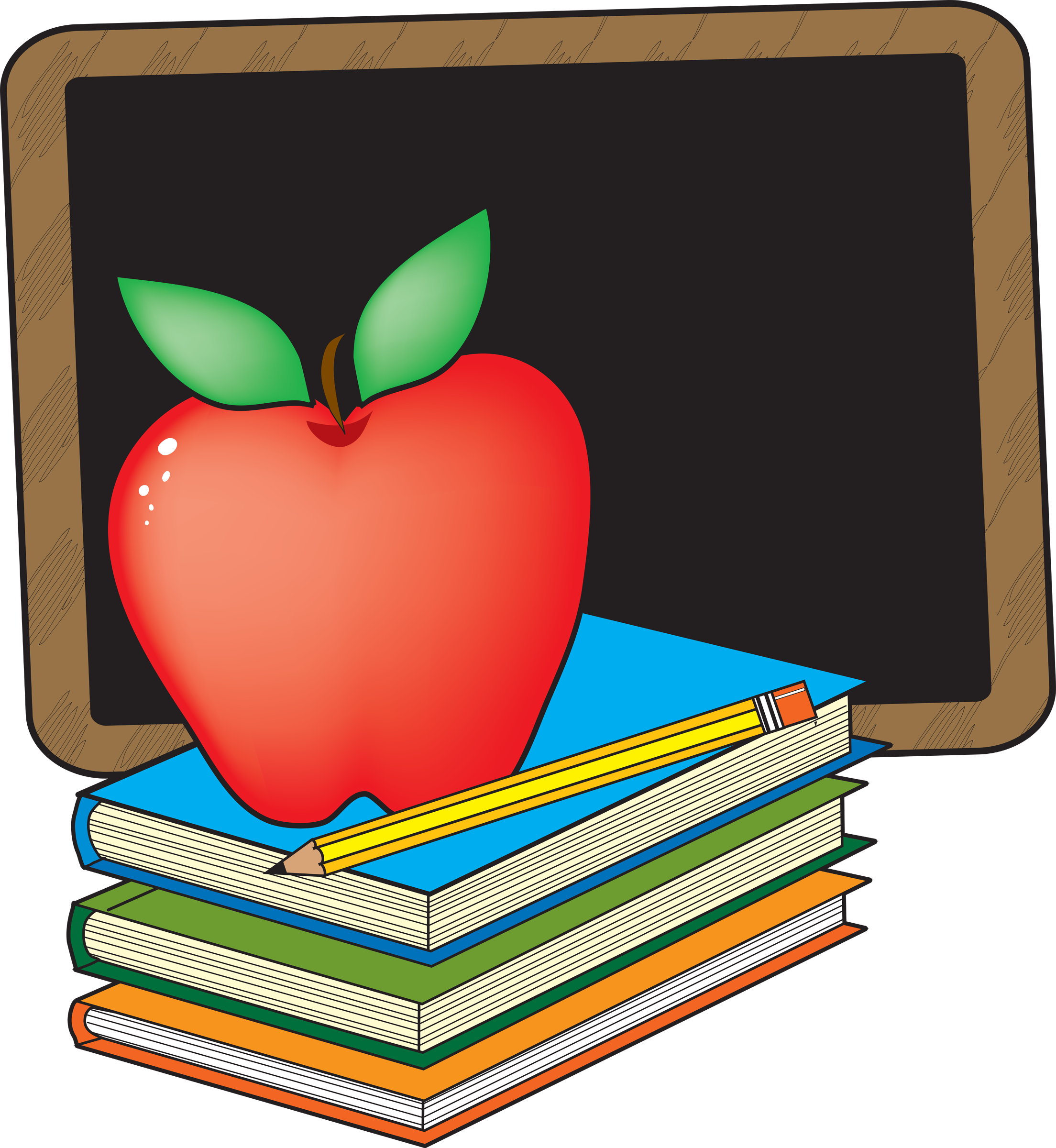 Free book clipart for teachers image black and white Apple and books clipart clipart - FamClipart image black and white