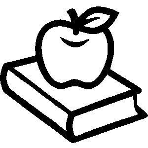 Apple with books clipart. And worm black white