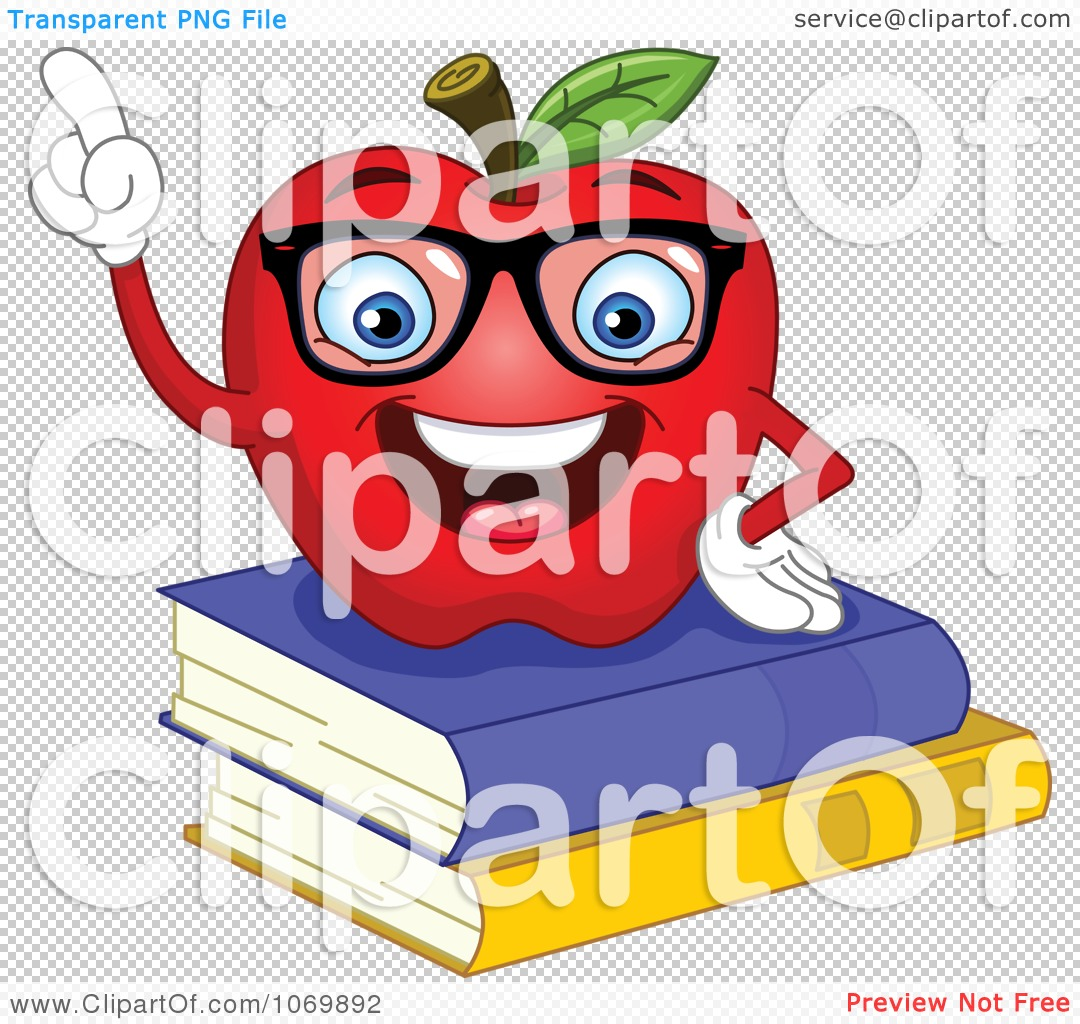 Apple with books clipart jpg library library Clipart Smart Apple On Books - Royalty Free Vector Illustration by ... jpg library library