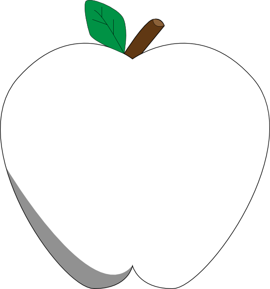 Apple with heart clipart black and white free stock White Apple Clip Art at Clker.com - vector clip art online, royalty ... free stock