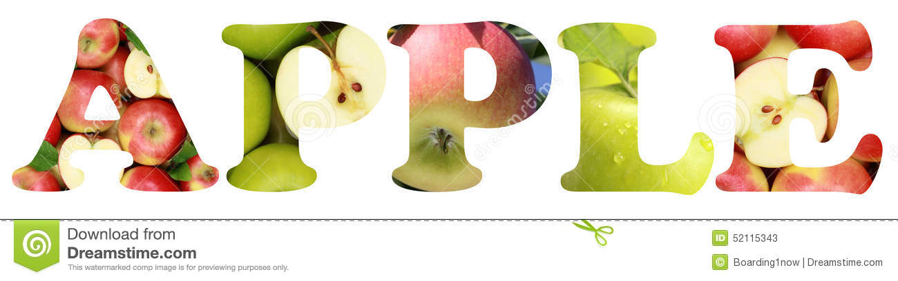 Apple with word apple clipart jpg free stock The Word Apple With Apples Fruits Stock Photo - Image: 52115343 jpg free stock