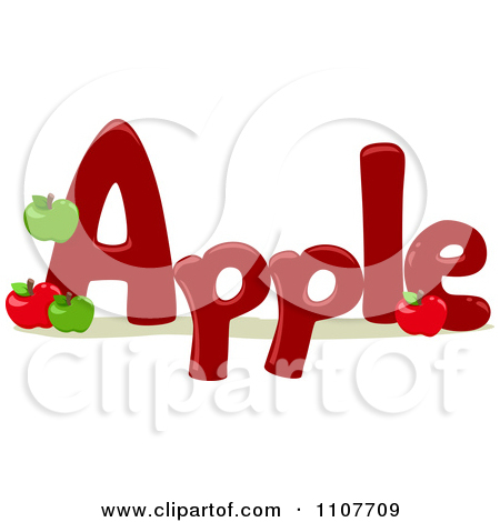 Apple with word apple clipart graphic black and white Clipart The Word Apple For Letter A - Royalty Free Vector ... graphic black and white