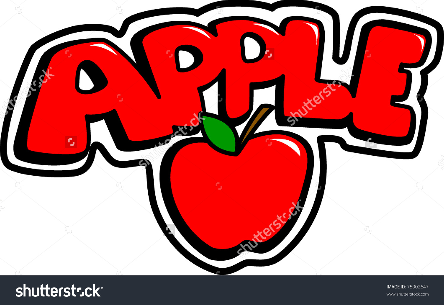 Apple with word apple clipart image free stock Apple Word Stock Vector 75002647 - Shutterstock image free stock