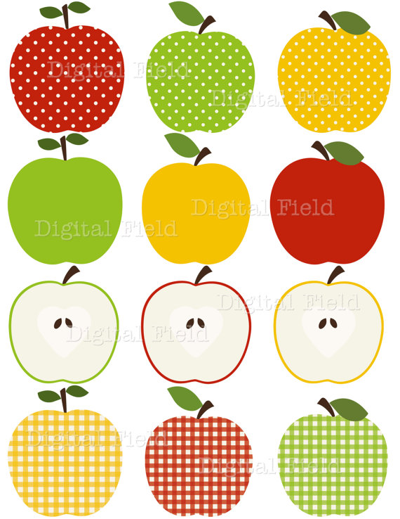 Patterned clipart graphic transparent INSTANT DOWNLOAD Apple Clip Art Set - red, green and yellow ... graphic transparent