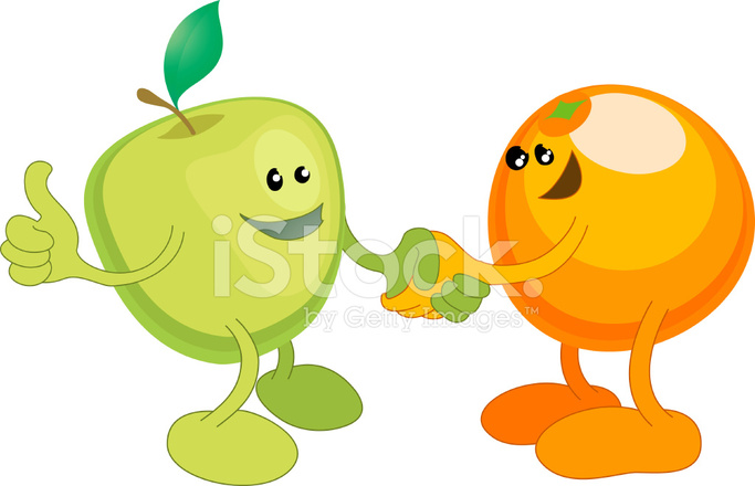 Apples and oranges love clipart svg free Apple and Orange Happily Shaking Hands Stock Vector - FreeImages.com svg free