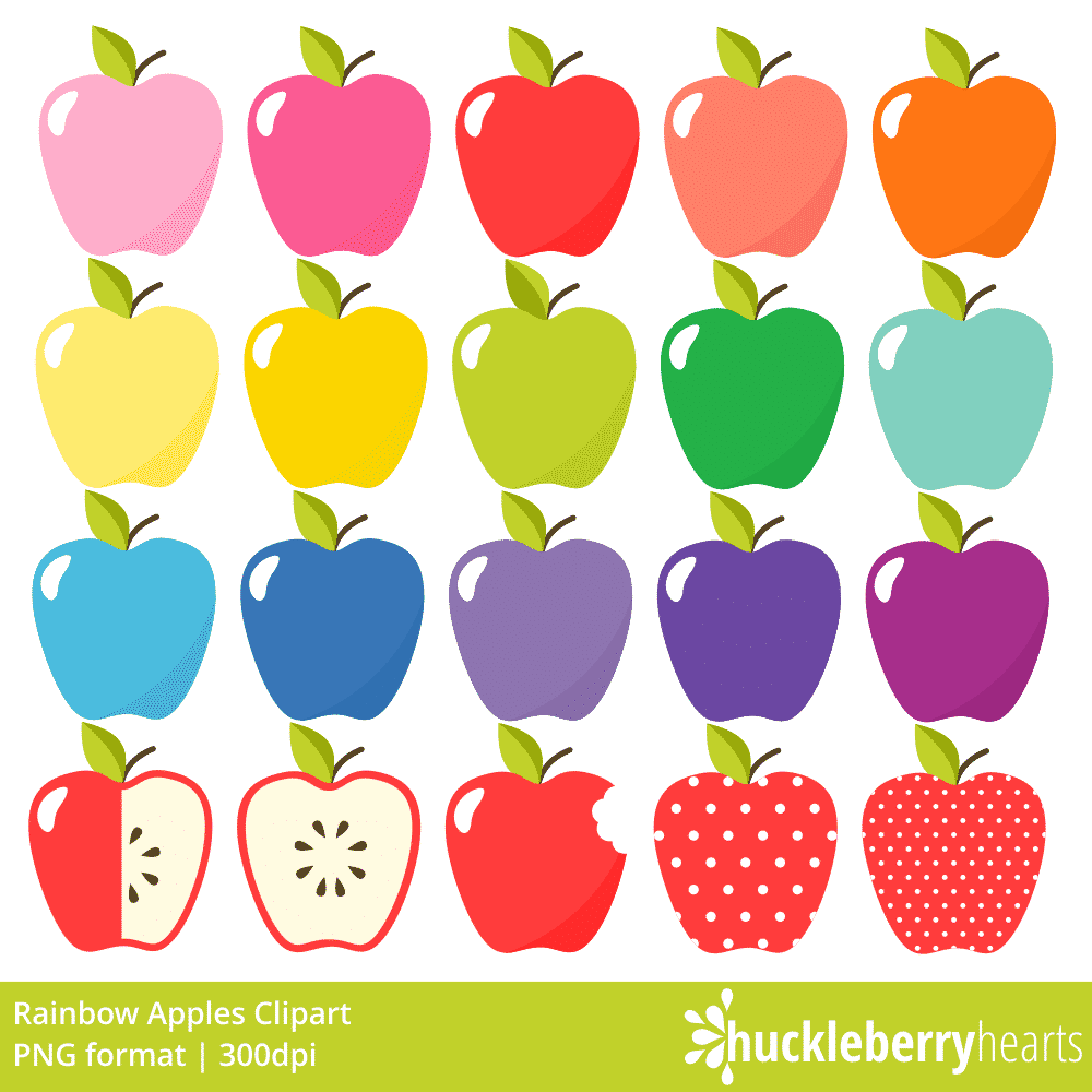 Apples apples clipart jpg freeuse library Rainbow Apples Clipart jpg freeuse library