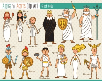 Greek gods clipart graphic stock Greek Gods Clip Art - color and outlines graphic stock