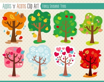Apples n acorns clipart vector library download Fancy Seasonal Trees Clip Art - color and outlines vector library download