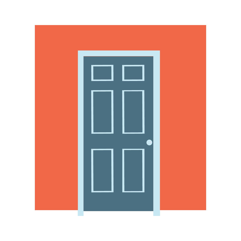 Approach a door clipart