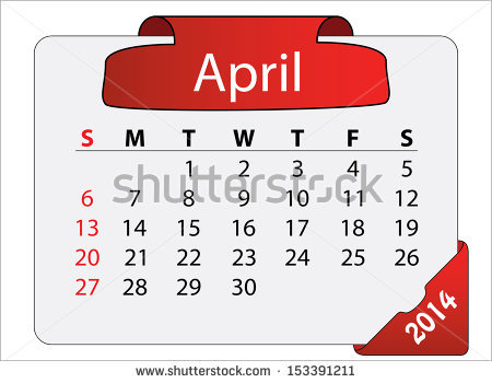 April 2014 calendar clipart clip art black and white April 2014 Calendar With Red Label. Abstract Editable Isolated ... clip art black and white