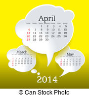 April 2014 calendar clipart clipart royalty free Vector Clip Art of April 2014 calendar - EPS10 vector file. April ... clipart royalty free