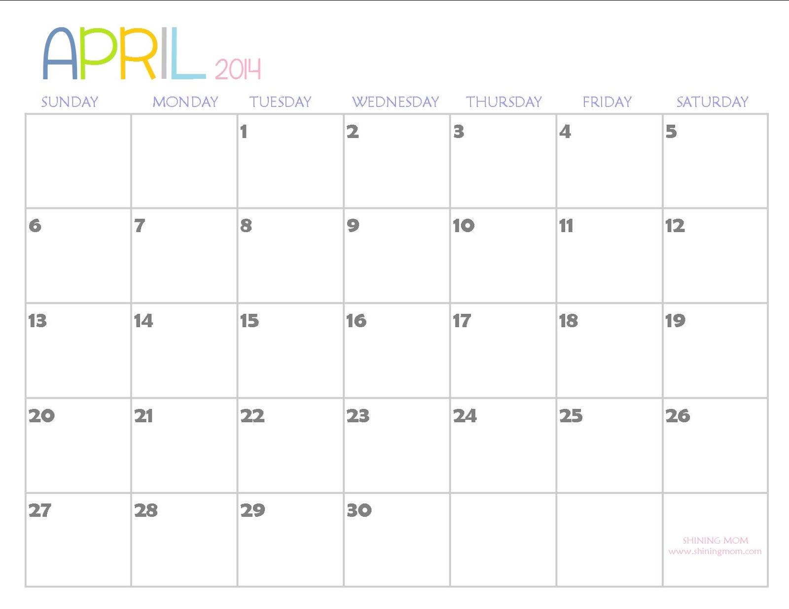 Clipartfest clip art on. April 2014 calendar clipart