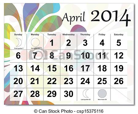April 2014 calendar clipart clipart black and white stock Vector Clip Art of April 2014 calendar - EPS10 vector file. April ... clipart black and white stock