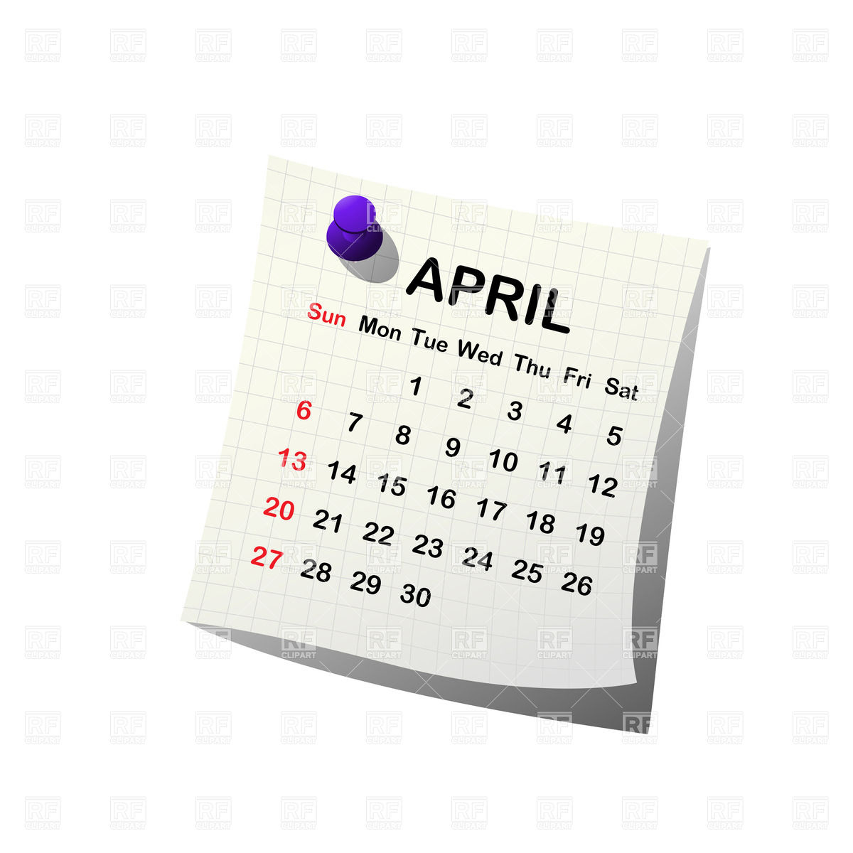 April 2014 calendar clipart vector stock 2014 paper calendar - April Vector Image #27907 – RFclipart vector stock