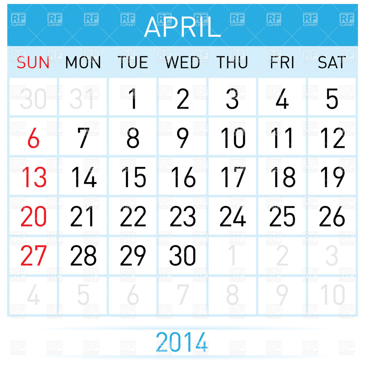 April 2014 calendar clipart svg freeuse library April 2014 month calendar Vector Image #7014 – RFclipart svg freeuse library