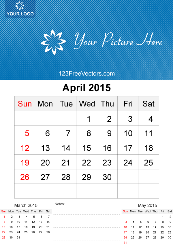 Template vector free download. April 2015 calendar clipart