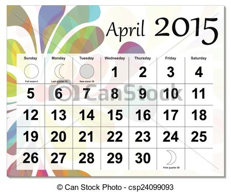 April 2015 calendar clipart. Clipartfest