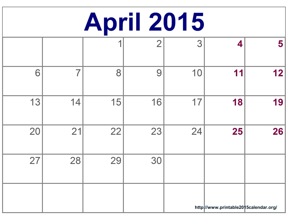 Clipartfest ignore words. April 2015 calendar clipart