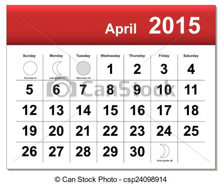 Vector clip art of. April 2015 calendar clipart