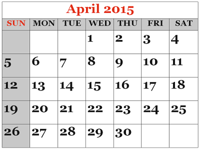 April 2015 calendar clipart. Free is my life