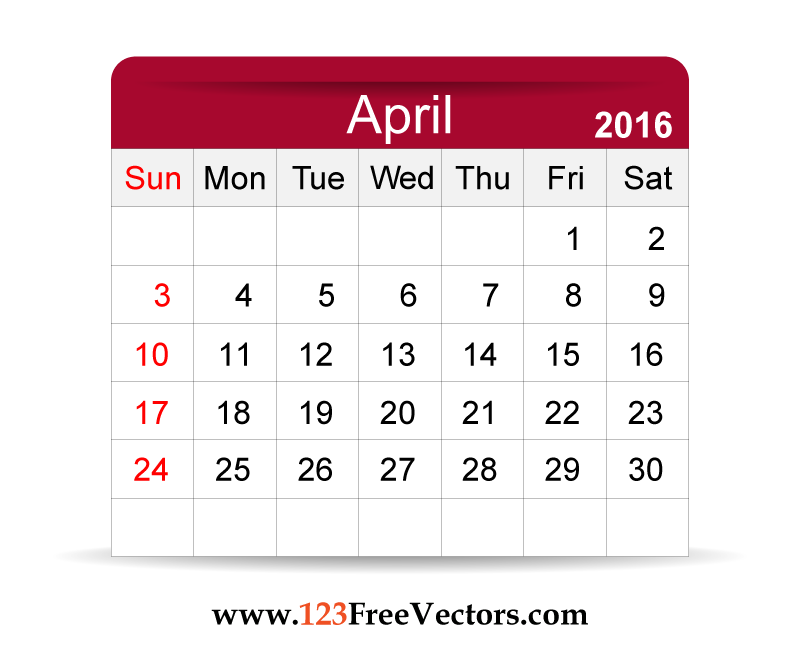 April 2016 calendar clipart. Clipartfest vector