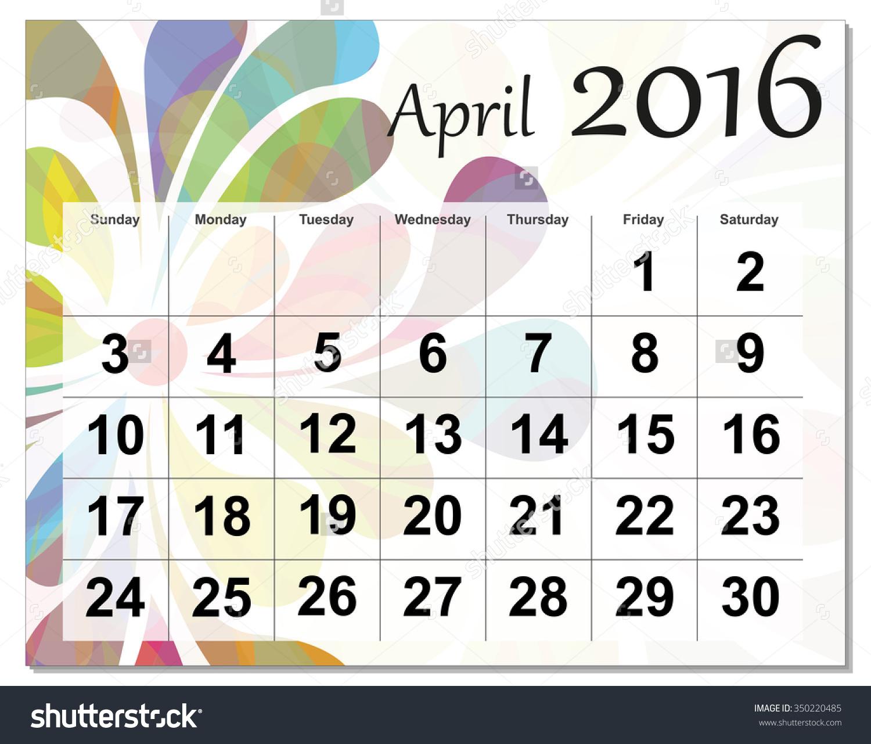 April 2016 calendar clipart jpg transparent stock April 2016 clipart calendar - ClipartFest jpg transparent stock