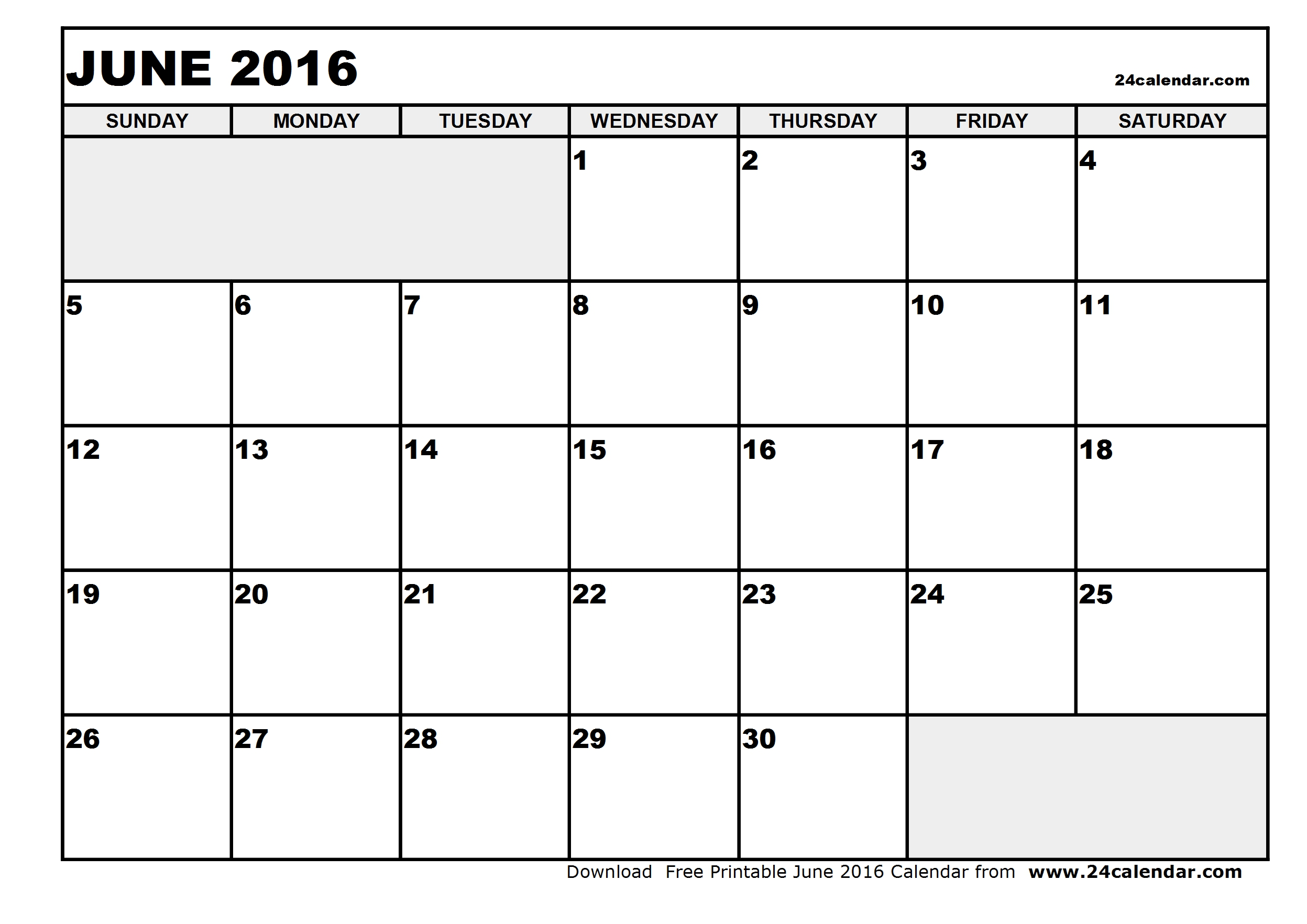 April 2016 calendar clipart.  june