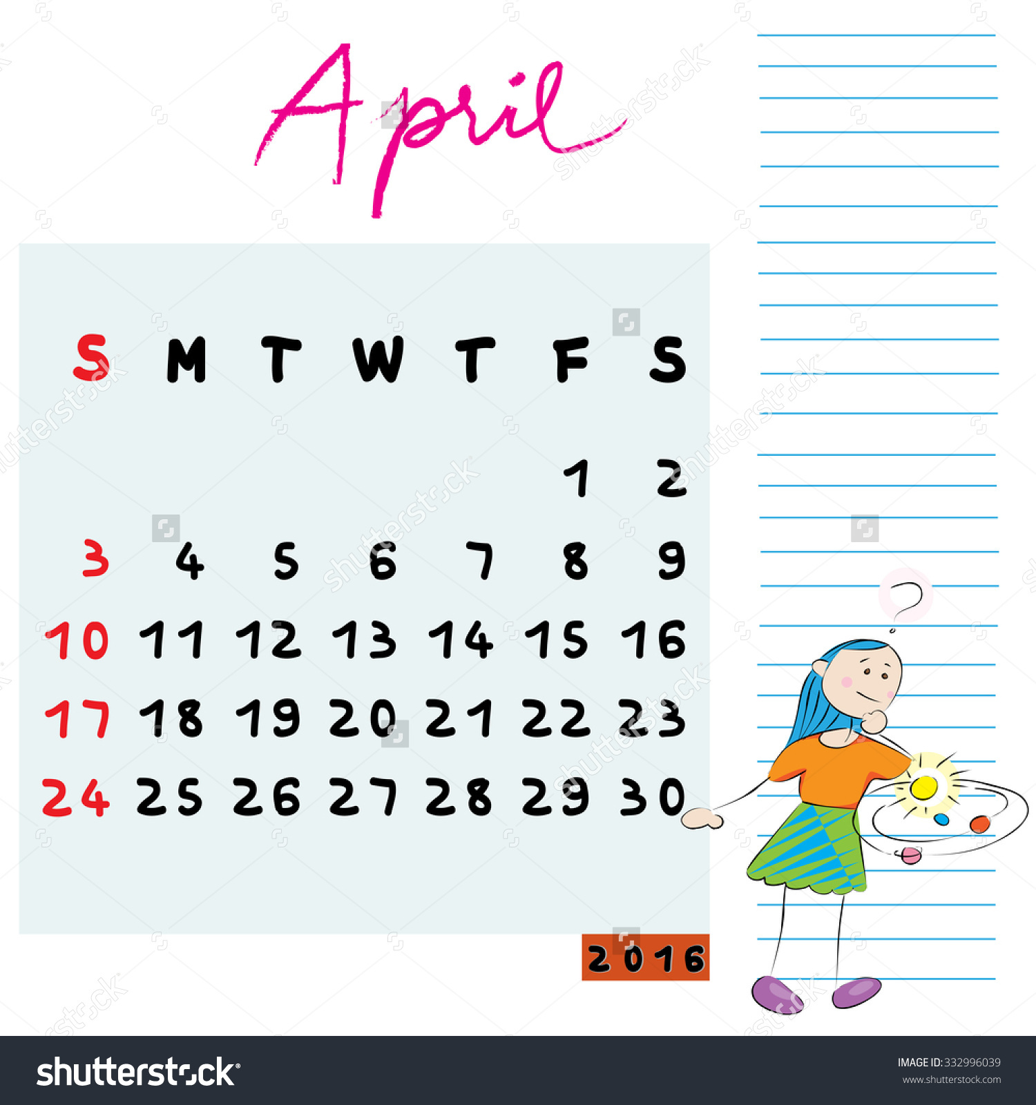April 2016 calendar clipart clip free stock Calendar Design For April 2016, With The Inquirer Student Profile ... clip free stock