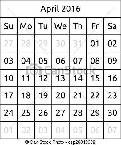 April 2016 calendar clipart graphic library download April calendar with day marked clipart - ClipartFest graphic library download