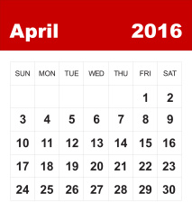 Clipartfest. April 2016 calendar clipart