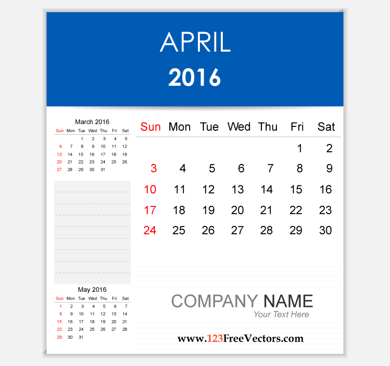 April 2016 calendar clipart. Editable download free vector
