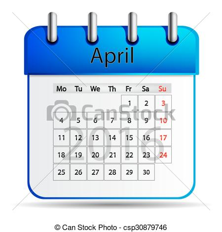 Eps vector of on. April 2016 calendar clipart