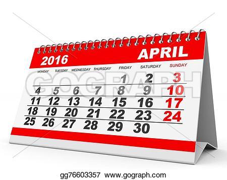 April 2016 calendar clipart graphic royalty free download Stock Illustration - Calendar april 2016. Clip Art gg76603357 ... graphic royalty free download