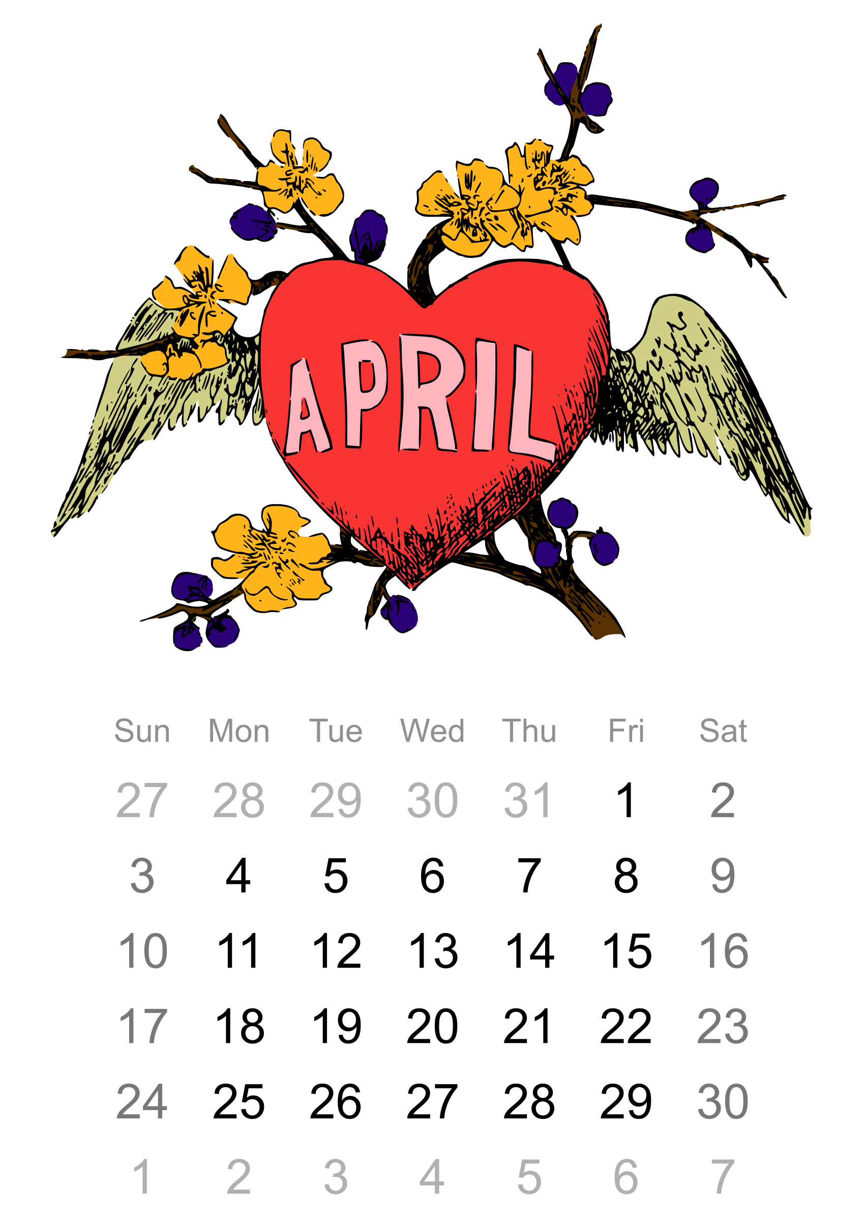 2016 monthly calendar clipart image black and white stock Clipart - 2016 April calendar image black and white stock