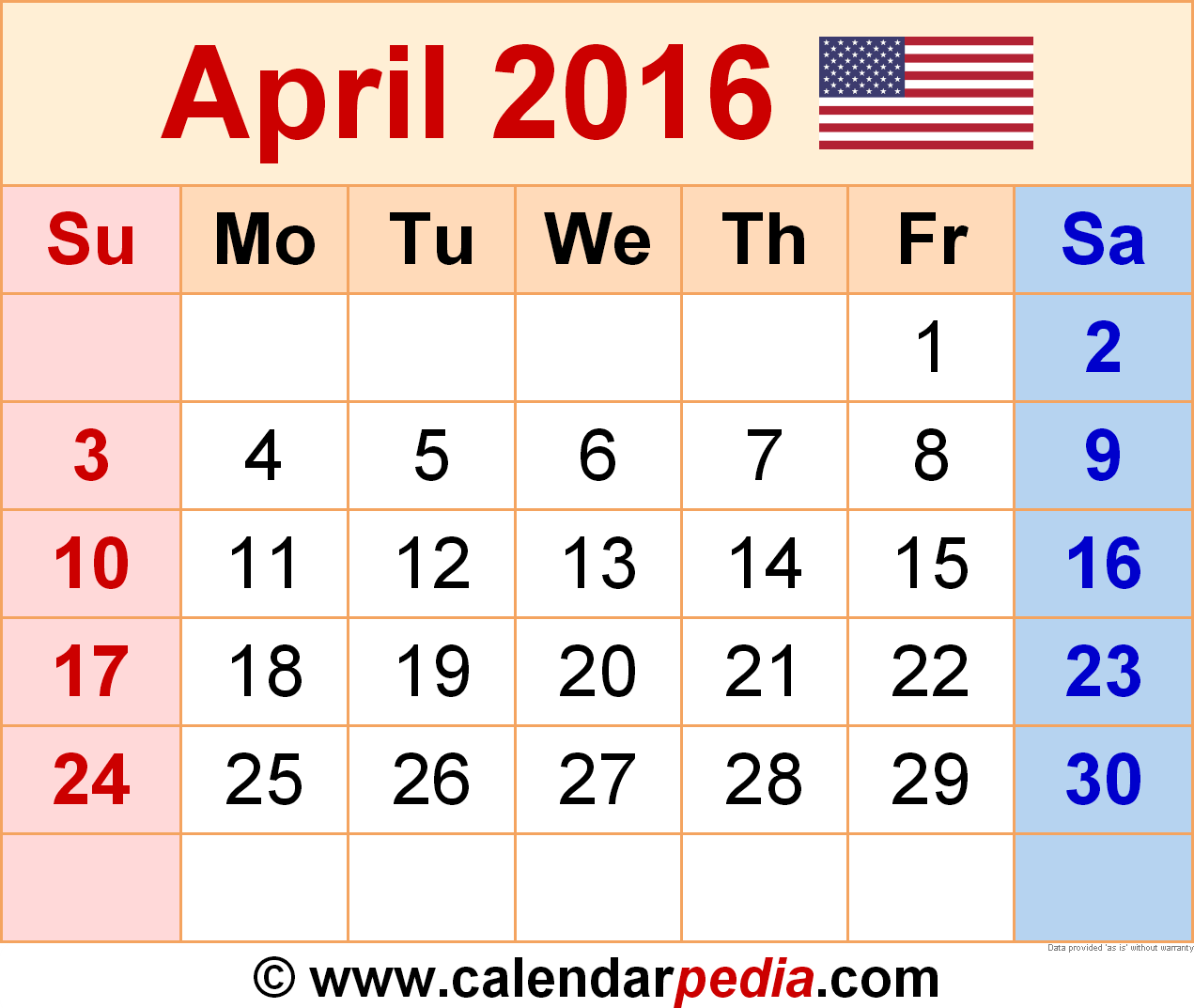 April 2016 calendar clipart. Calendars for word excel