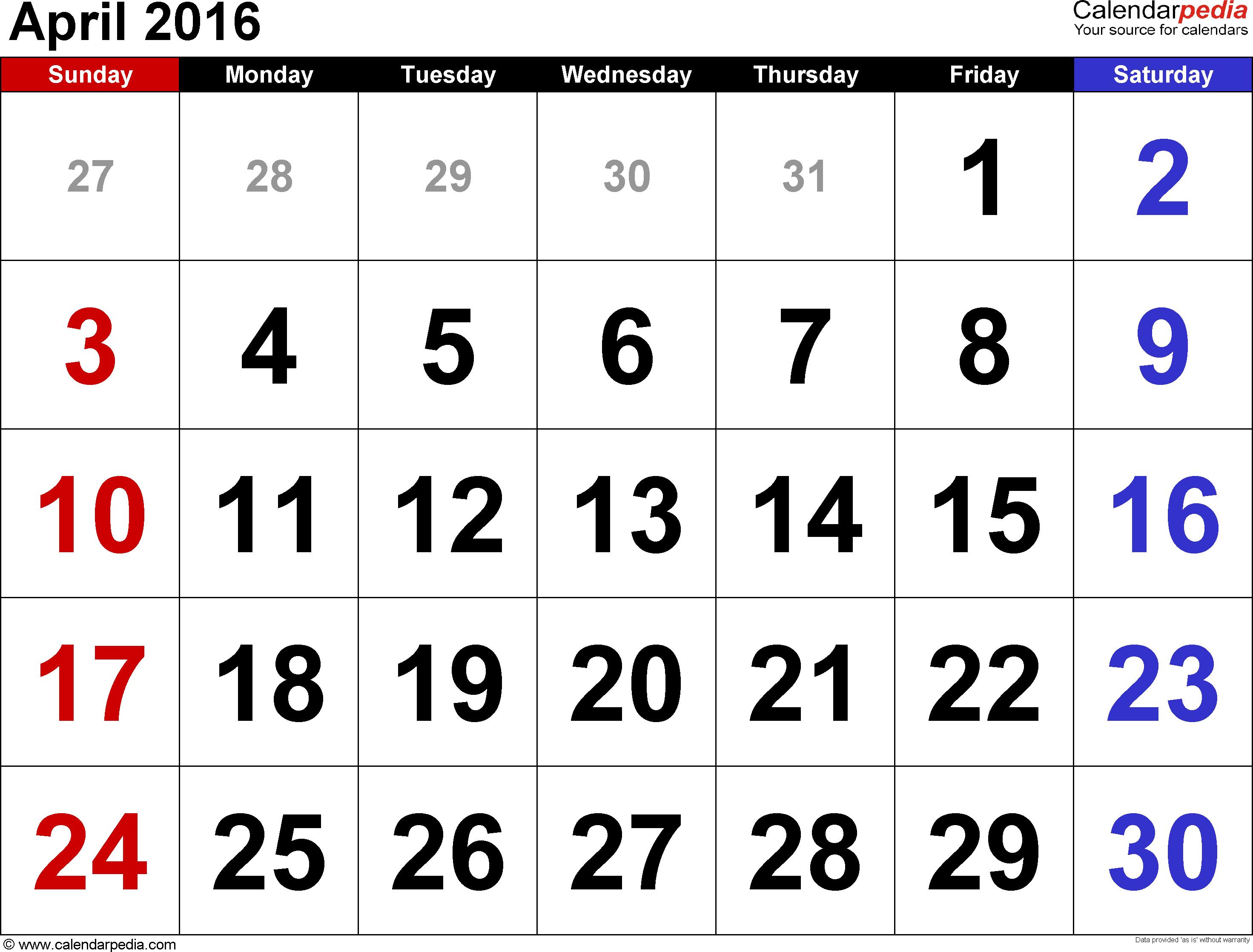 April 2016 calendar clipart clip art library stock April 2016 Calendars for Word, Excel & PDF clip art library stock