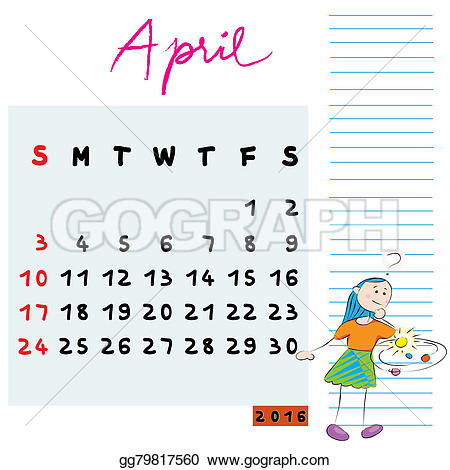 April 2016 calendar with clipart png transparent library Stock Illustration - April 2016 kids. Clipart Drawing gg79817560 ... png transparent library
