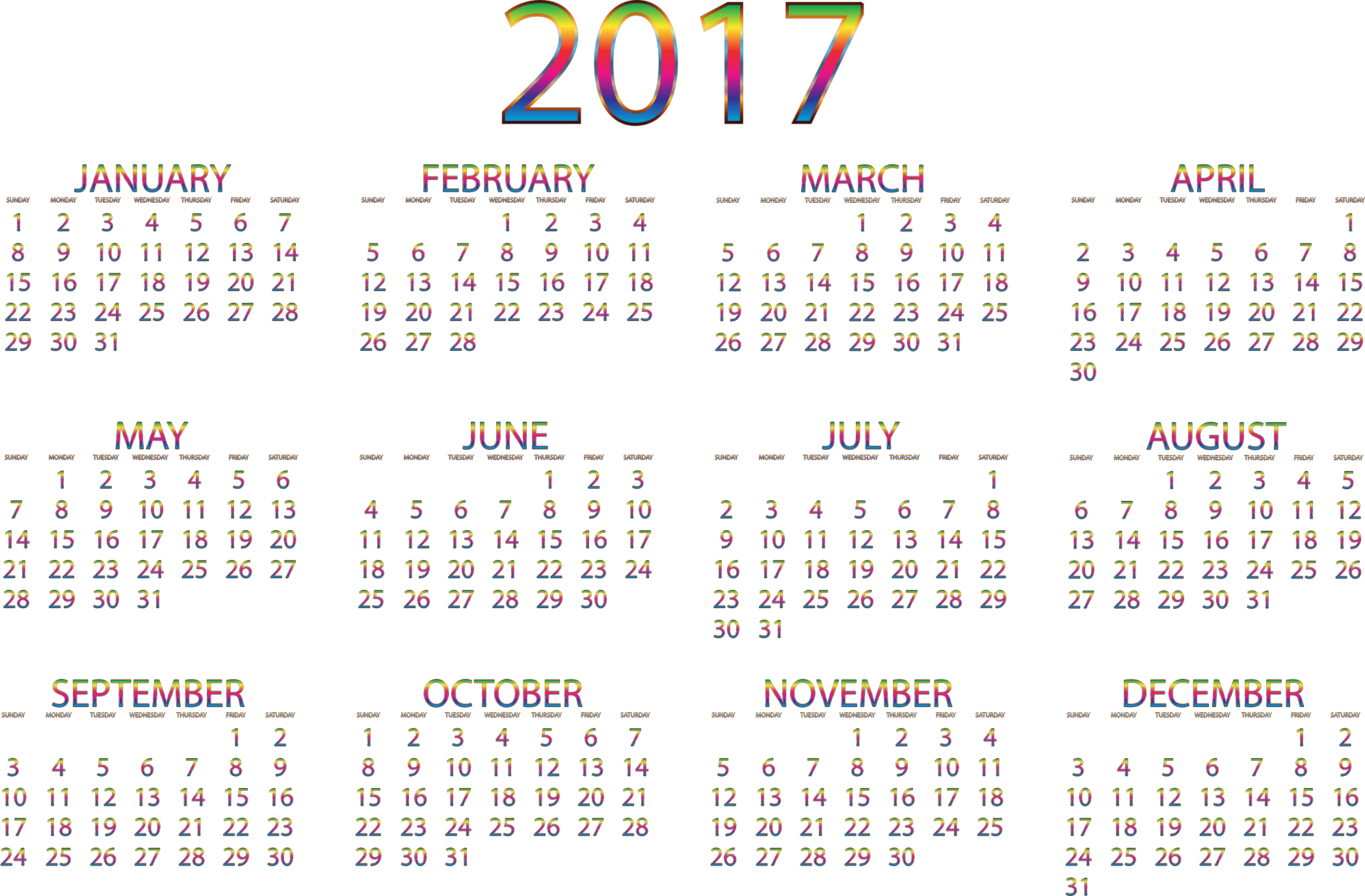 April 2016 calendar with clipart transparent library Clipart - 2017 Calendar Chromatic No Background transparent library